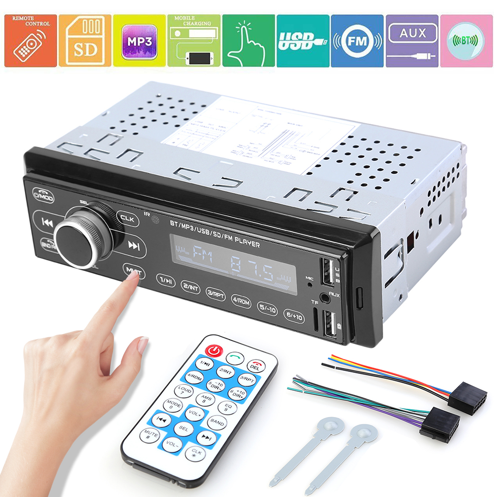 3207 Single DIN Car Stereo MP3 Player Classic Colors and Simple Durable Design Bluetooth Radio AUX In Dash Head Unit image