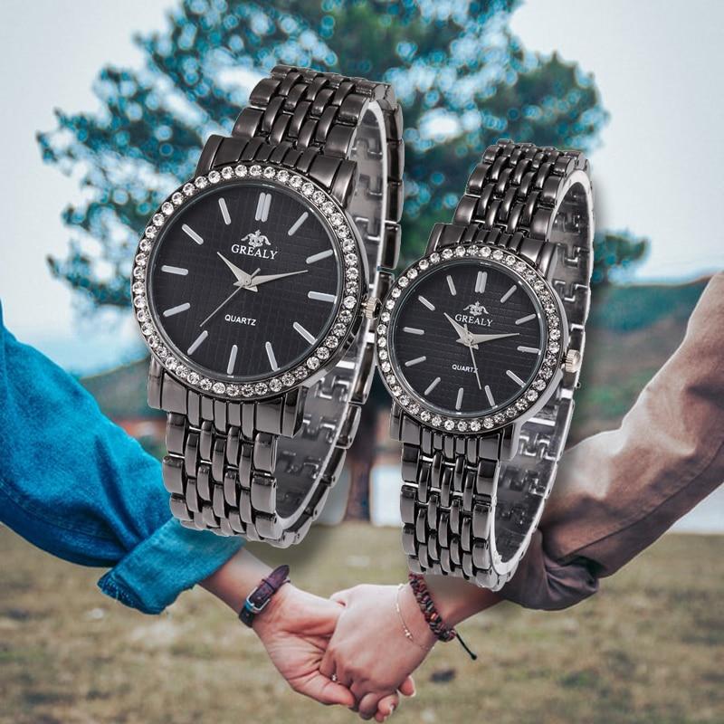 Rhinestone Casual Quartz Lovers Watch Luxury Stainless Steel Strap  Wristwatch Simple Business Montre Femme Valentine's Day Gift