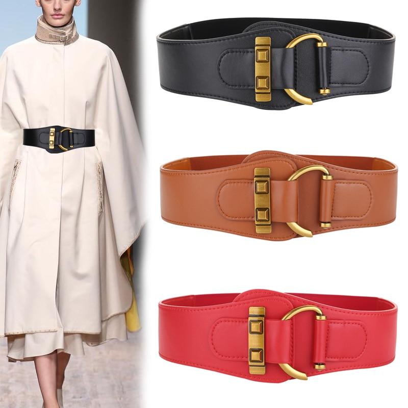 Fashion Good Quality Cowhide Leather Corset Belts Wide Elastic Waistband Cow Genuine Vintage Buckle Cummerbunds For Women Jeans