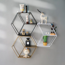 Wall Shelf Floating Shelves Wall Mounted Hexagon Storage Holder Storage Rack for Bedroom Living Room Office Organizer Decor