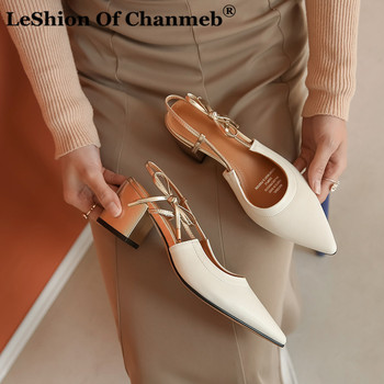 Sweet Butterfly Knot Women Pumps Block Heels Shoes Woman Ladies Natural Leather Slingback Party Office Work Shoes Zapatos Mujer
