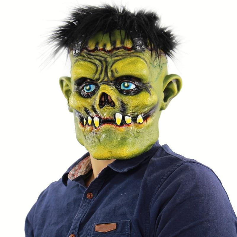 Хэллоуин Роговая маска 2019 Водонепроницаемая Экологически чистая страшная латексная зеленая маска клоуна Хэллоуин бар косплей реквизиты д