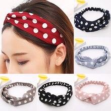 Bandeau élastique à pois pour femmes et filles, accessoire de coiffure, à la mode, avec nœud croisé, Style coréen, maquillage