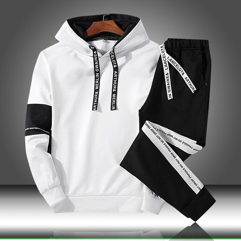 Men Sets Hooded Sport Suit Tracksuit Outfit Suit 2 Piece Set Suits Hoodies & Long Pants Autumn Warm Mens Clothing Drop Shipping