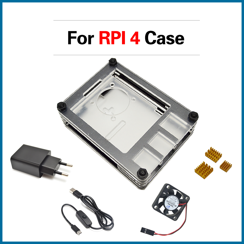 S ROBOT <font><b>Raspberry</b></font> <font><b>Pi</b></font> <font><b>4</b></font> case kit with <font><b>heat</b></font> <font><b>sink</b></font> & Cooling fan & type-c USB cable with On/Off Switch & Power Supply RPI107 image