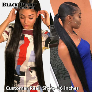 Image 5 - Black pearl 30 32 34 36  inch Bundles Peruvian Hair Weave Bundles 100% Straight Human Hair Bundles Remy Hair Extensions
