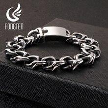 Pulseira masculina fongten, bracelete de aço inoxidável preto para homens, com gravura, hip hop, joia