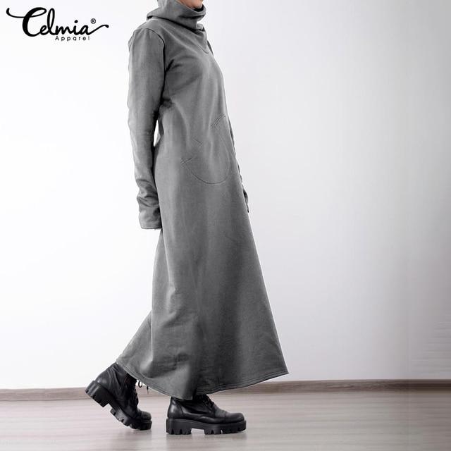 Women Turtleneck Vintage Winter Dress Celmia Autumn Solid Casual Loose Pockets Long Maxi Vestidos Robe Femme Plus Size Dresses 2