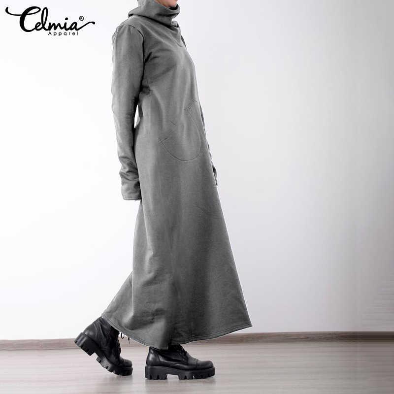 Celmia 2020 Robe d'hiver femmes col roulé Vintage Robe pull grande taille solide décontracté poche ample longue Maxi Vestido Robe Femme