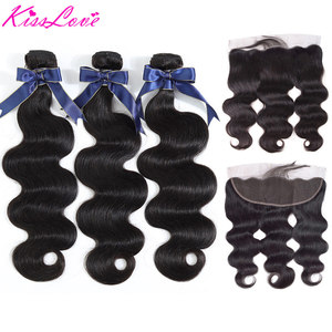 Image 1 - Body Wave Bundles with Frontal Brazilian Hair Weave Bundles with Closure Remy Human Hair Extensions Kiss Love