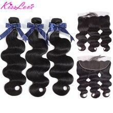 גוף גל חבילות עם פרונטאלית ברזילאי שיער Weave חבילות עם סגירת רמי שיער טבעי הרחבות נשיקת אהבה