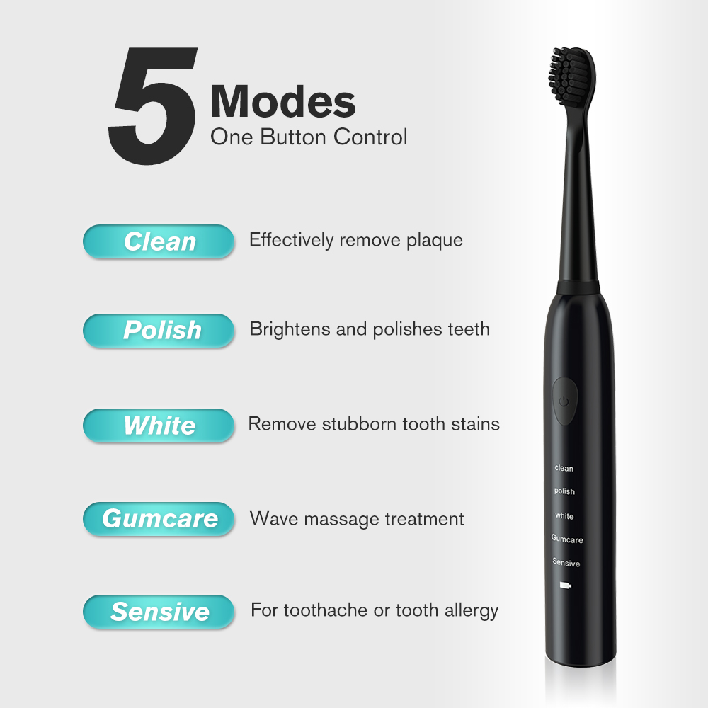 5 Gears Powerful Electric Toothbrush Rechargeable 41000time/min Ultrasonic Washable Electronic Whitening Waterproof Teeth Brush