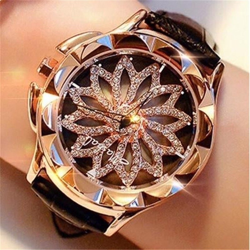 Watch Women Rhinestone Watches Ladies Watch Leather Band Big Dial Bracelet Wristwatch Crystal Women Watch Clock Zegarek Damski