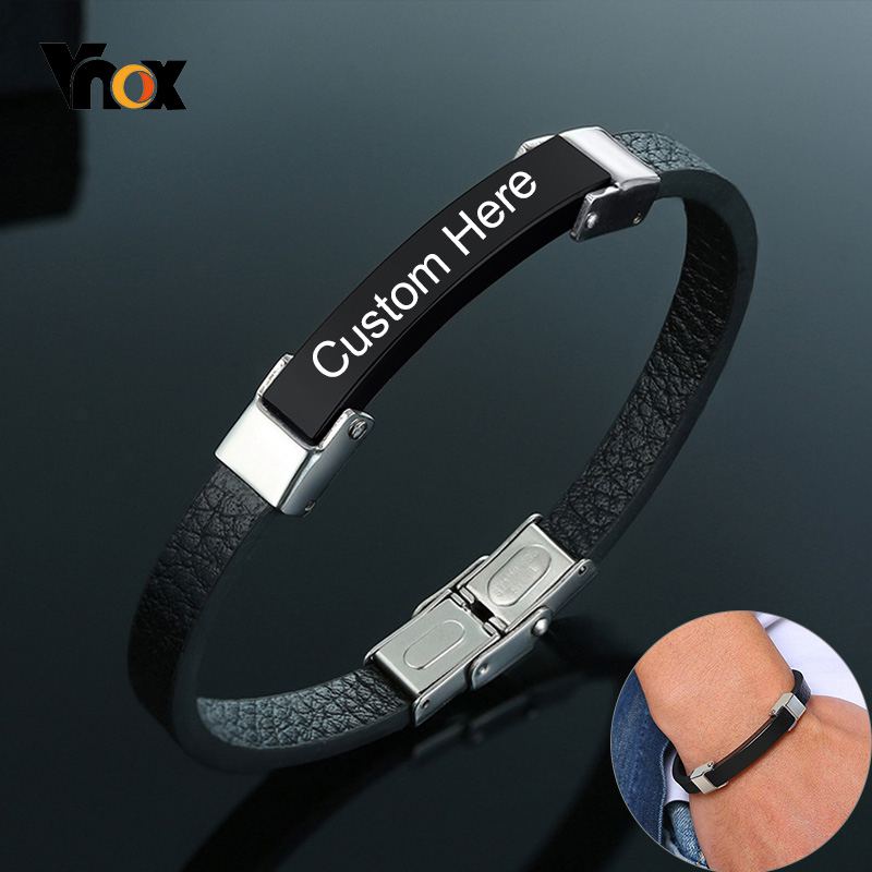 Vnox Personalized Stainless Steel ID Bracelets For Men Layered Leather Bangle Casual Custom Gents Father Husband Gift