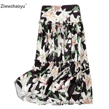 Ziwwshaoyu Elegant lily Flower Printed Long Skirt Women Summer Designer Casual Holiday High Waist