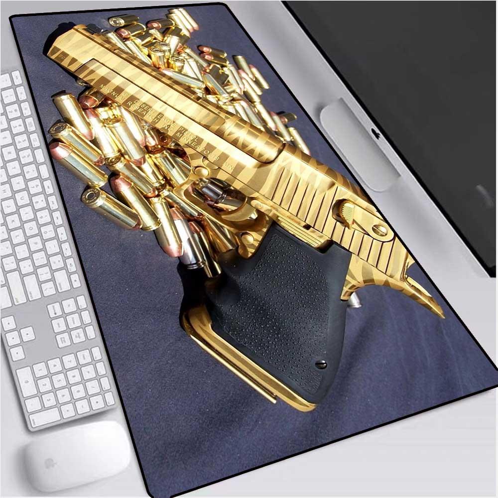 XGZ Your Own Mats CS Gun Wallpaper Keyboard MousePads Laptop Gaming Mice Large Lock Edge Mousepad Size for 30x80cm 40x90cm Desks