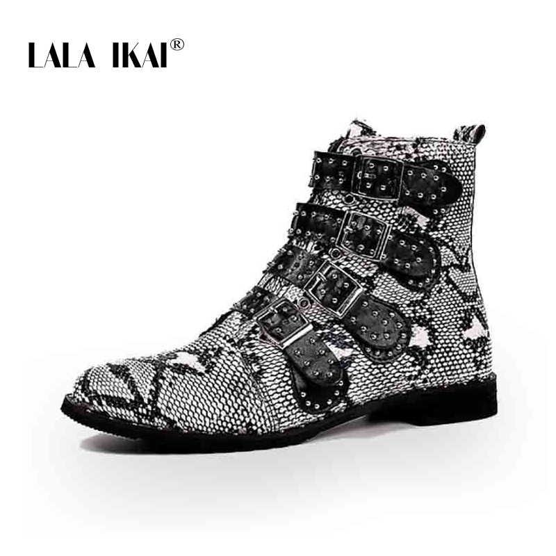 LALA IKAI Kadın Pu deri yarım çizmeler Serpantin Toka Kayış Perçin Ayakkabı Kadın Sonbahar Fermuar Rahat siyah çizmeler XWA7907-4