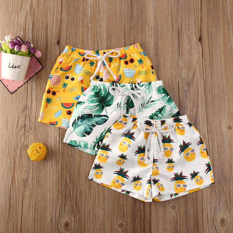 2020 Infant Toddler Baby Boy Kids Tropical Print High Waist Shorts Swimming Pants Summer Casual Panties One Piece Swimsuit
