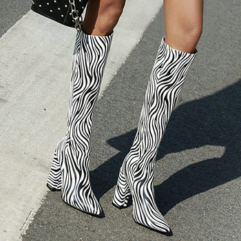 2020 Fashion Mixed Color Women Knee High Boots Thick Heel Pointed Toe Women Long Boots Slip on Ladies Sexy Boots Plus Size
