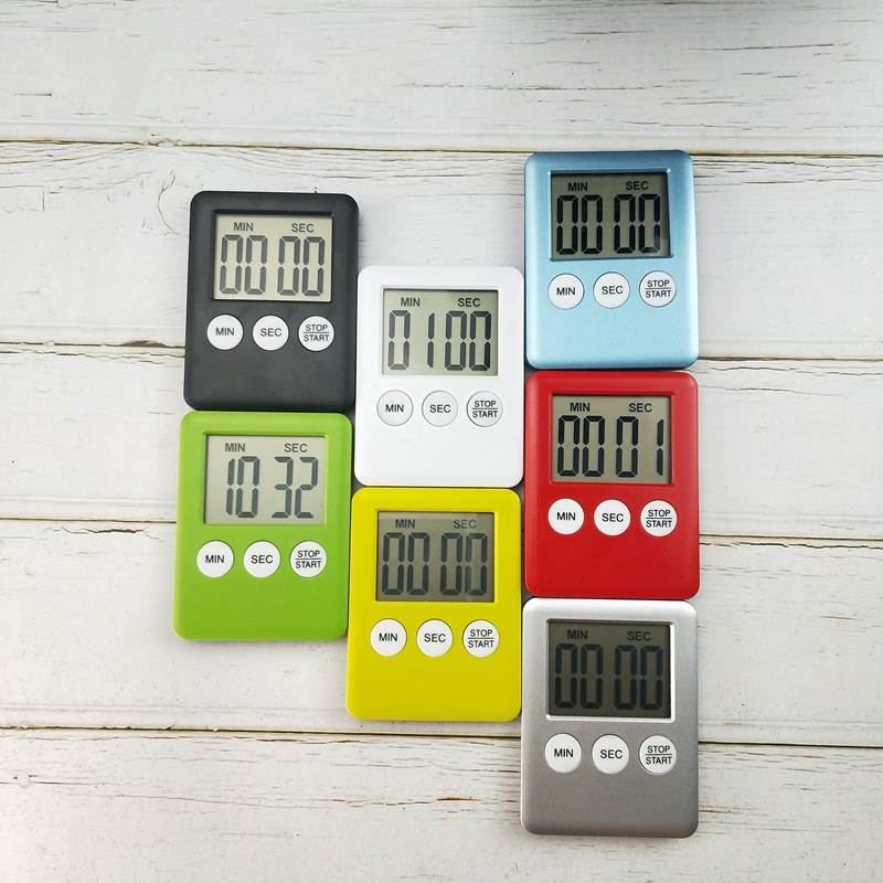 7 Colors Magnet Kitchen Cooking Timers LCD Digital Screen Kitchen Timer Square Cooking Timer Count Up Countdown Alarm 5.3x7cm