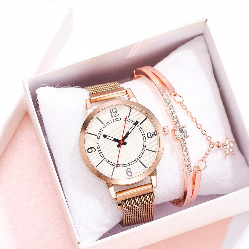Women Watches Mesh Leather Belt Fashion Small Delicate European Beauty Simple Casual Bracelet Watch Suit Zegarki Damskie Watch
