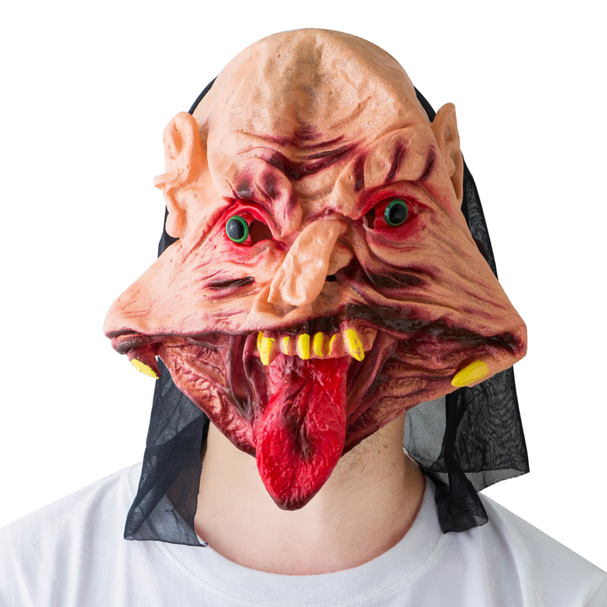 Halloween Cosplay Festival Party Supplies Scary Mask Horrifying Mask Mask With For Red Tongue Distorted Mouth Creepy Mask