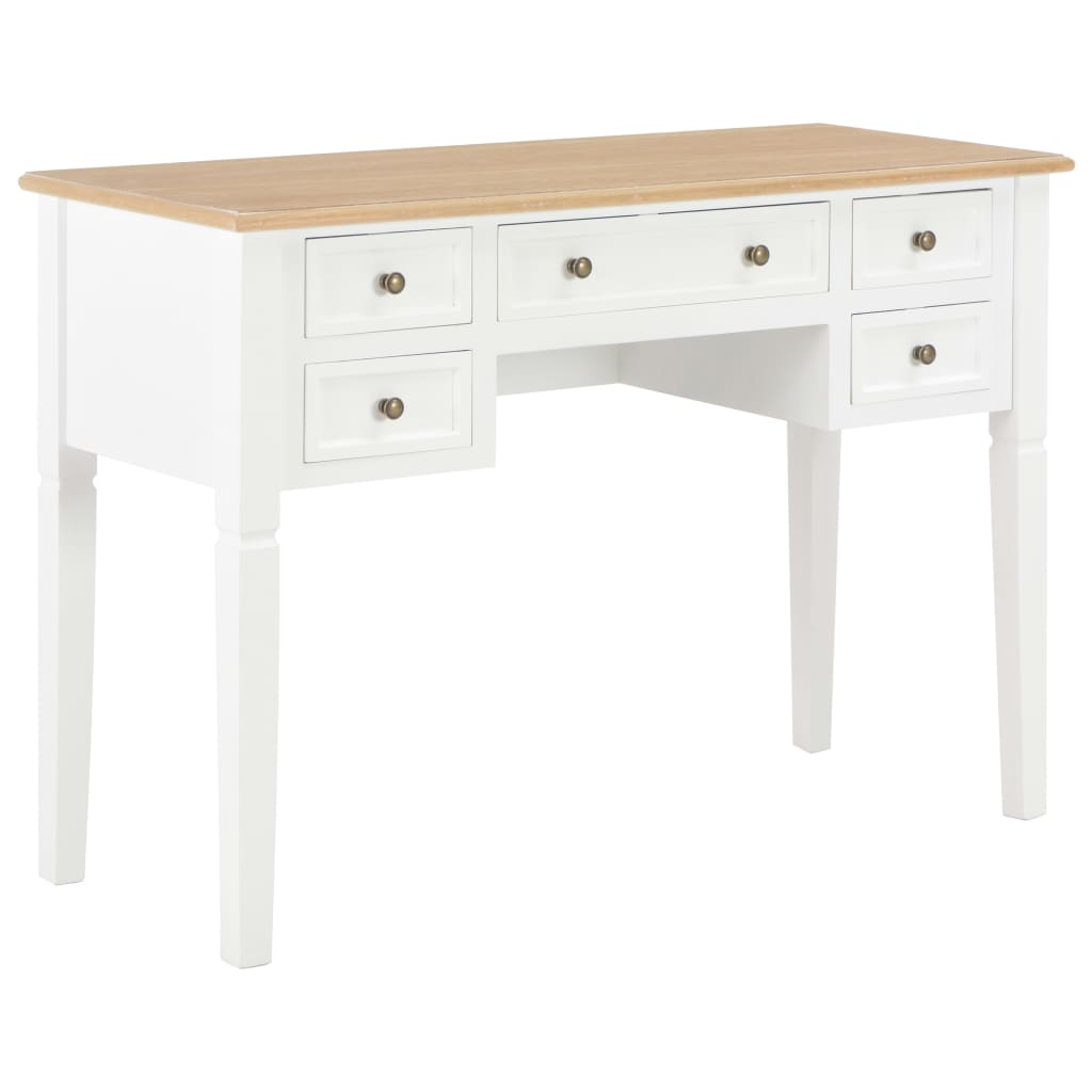 VidaXL Writing Desk White 109.5x45x77.5 Cm Wood