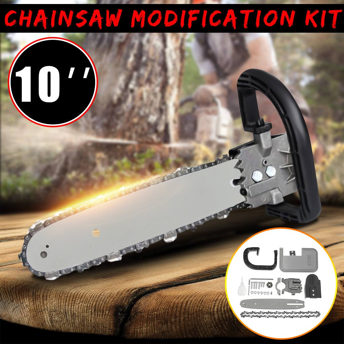 Drillpro 10Inch 33cm DIY Chainsaw Bracket Changed 100 125 150 Angle Grinder Into Chain Saw for Electric Saw Parts Woodworking
