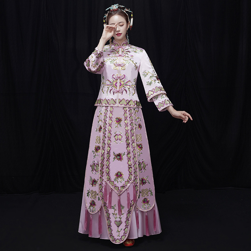 2019 New Pink Hand-embroidered Bride Show Wo Clothing Chinese Wedding Sets Vintage Wedding Dress Toast Clothing