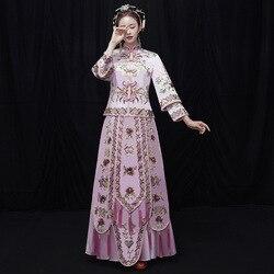 2019 neue Rosa Hand bestickt Braut Zeigen Wo Kleidung Chinesischen Hochzeit Sets Vintage Hochzeit Kleid Toast Kleidung