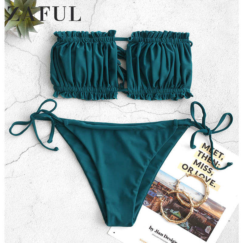 ZAFUL Bikini Set Ruffle Strapless Tie Side Bikini Women Swimwear Sexy High Cut Strapless Low Waisted Padded Bikini Femme 2019