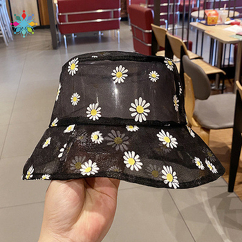 Daisies Embroidered Buckets Hat Women Transparent Lace Flower Beach Panama Hats High Top Snapback Fashion Daisy Sun Cap Summer - discount item  39% OFF Hats & Caps