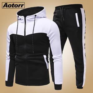 Male Tracksuit Clothing Sportswear Pants-Sets Hoodies Sweat-Shirts Men Set Slim-Fit Zipper