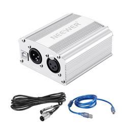 Neewer 48 v fantasma fonte de alimentação com cabo usb, bônus + xlr 3 pinos microfone cabo