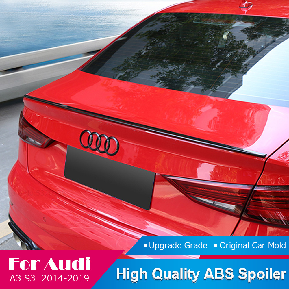 AITWATT Fit For Audi A3 S3 Sedan 2014-2019 Carbon Fiber Rear Spoiler Car Tail Trunk Wing Lip Black And White Spoiler Car Styling image