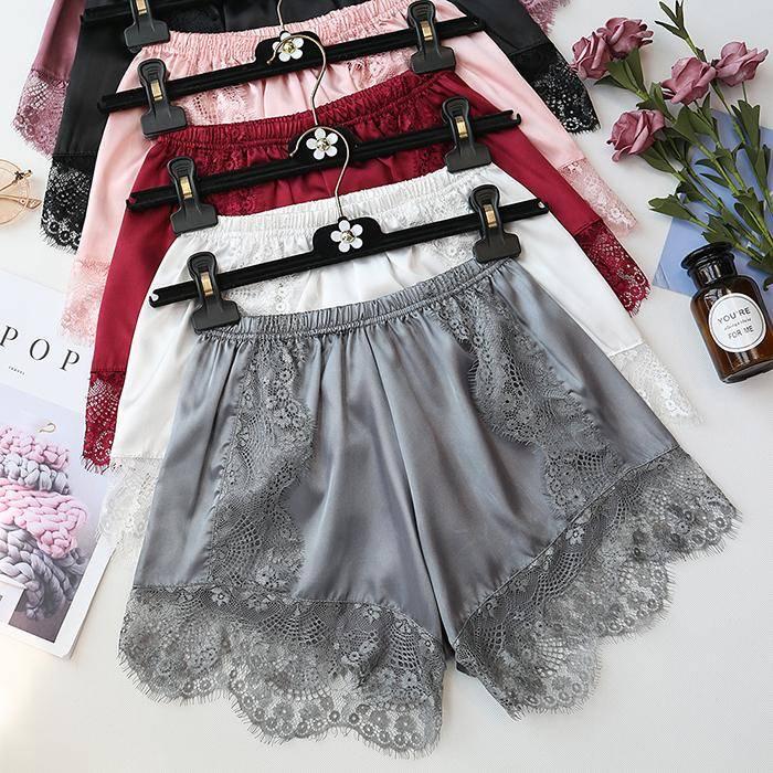 Plus Size Lounge Silk Shorts Pajama Pants Women Bottoms Sexy Sleep Shorts Satin Pants for Women Girls Lace Sleepwear Fit 40-80kg