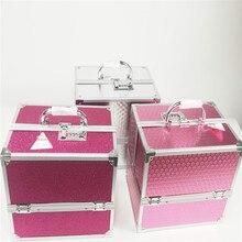 Amazon Горячая коробка для макияжа двойной открытый алюминий сплав косметическая коробка косметика ящик для инструментов дорожная косметичка Профессиональная Красота алюминиевый корпус