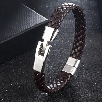 High Quality Men Women Leather Wrap Wristband Cuff Magnetic Clasp Bracelet Stainless Steel Buckle Clasp Bracelets Jewelry
