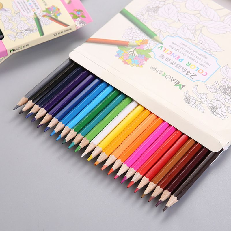 12/24 Colour Pencils Natural Wood Colored Pencils Drawing Pencils For School Office Artist Painting Sketch Supplies X6HB