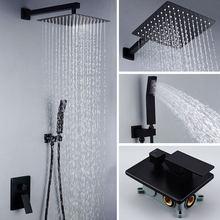 Матовый черный набор для ванной комнаты квадратный смеситель