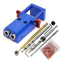 Aluminium Tasche Loch Jig Kit Holz Loch Sah 9,5mm Schritt Bohrer 150mm PH2 Schraubendreher Bit mit Tasche stecker Schrauben