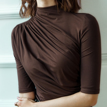 Womens Soft Modal T-shirt Half Sleeve Turtleneck Solid color Lady Basic Shirt  For Spring & Autumn Causal Top
