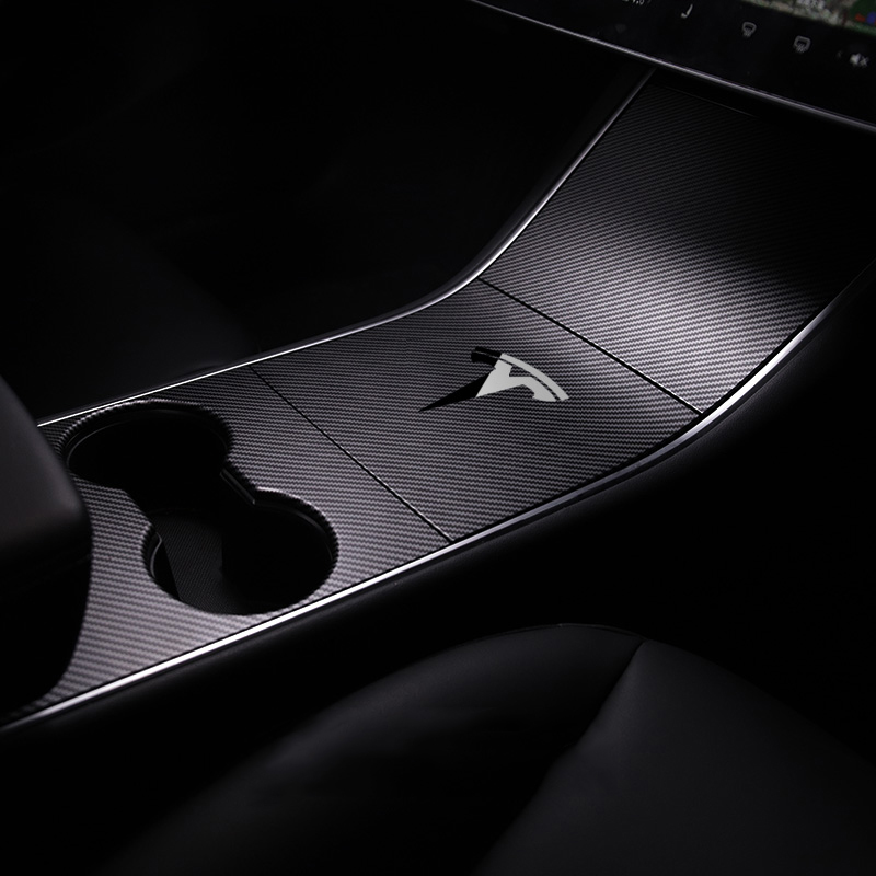 1 ชุด Car Center คอนโซลฟิล์ม Anti-Scratch Protector สติกเกอร์ตกแต่งภายในสำหรับ Tesla รุ่น 3 แก้ไขอุปกรณ์เสริม