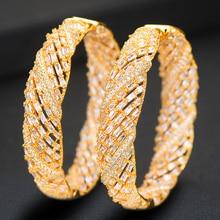 SisCathy Trendy Big Hoop Earrings For Women Luxury Elegant Cubic Zirconia Naija Nigerian Wedding Bridal Earrings 2019 Jewelry цена и фото