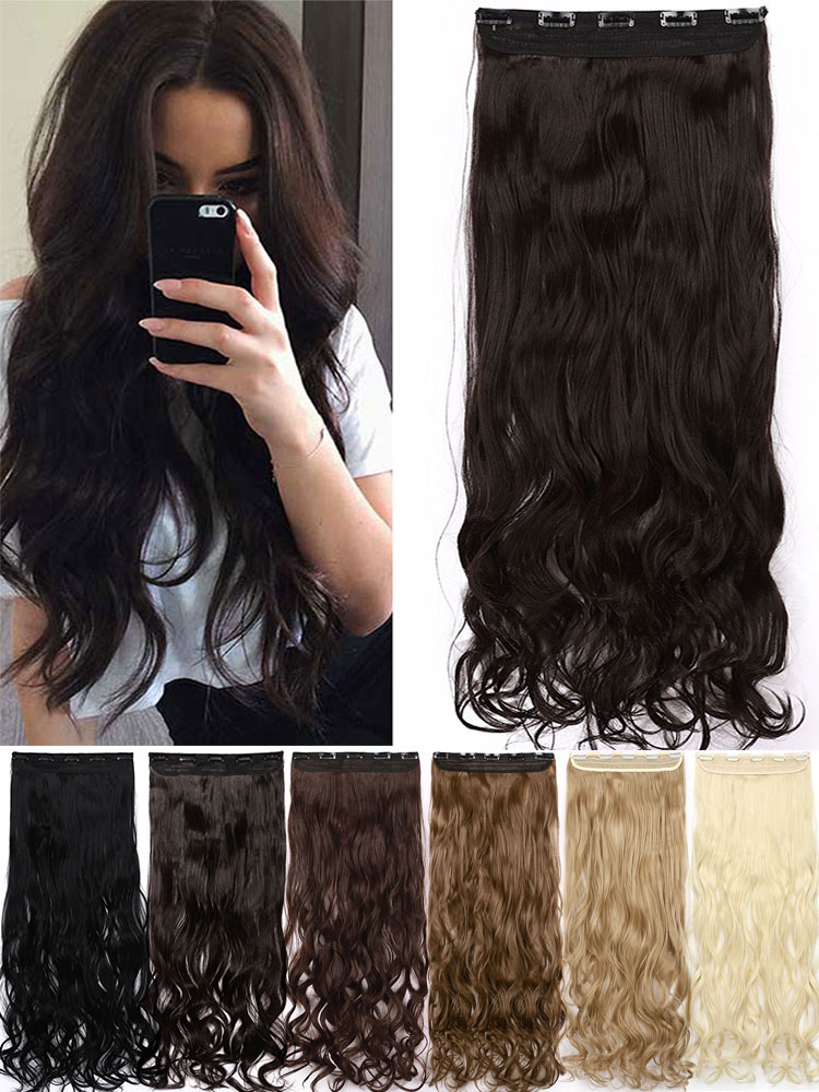 He3bd859adb81403a84ed48e918257eb48 - S-noilite Long wavy Clip in One Piece Hair Extension half head real natural hair Synthetic clip in Hairpiece for women