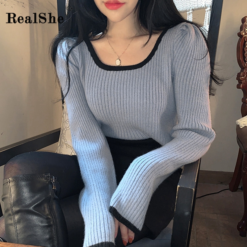 RealShe Square Collar Sweaters Ladies Long Sleeve Solid Women Sweaters And Pullovers Spring Casual Knitted Slim Female Sweater