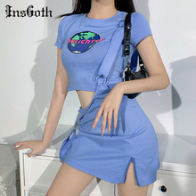 InsGoth Summer Mini Skirt Crop Top 2 Piece Sets Harajuku Str