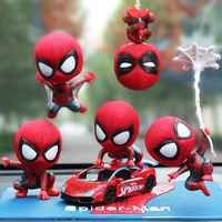 Car Decoration Cartoon Spring Shake Head For The Avengers Spiderman Toy Adornment Doll Auto Dashboard Decoration Accessories
