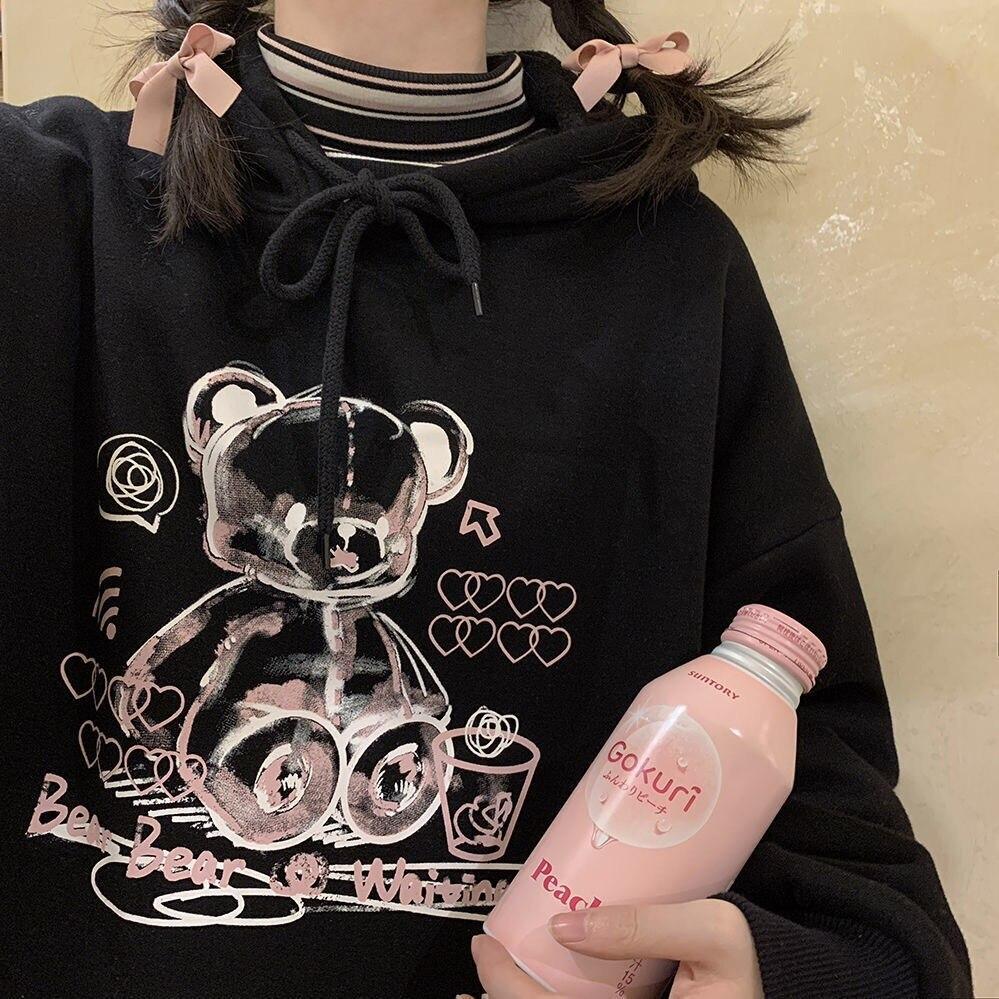 Милые женские толстовки в Корейском стиле с изображением медведя ольччан, свитшоты, свободные уличные Топы в стиле хип-хоп, винтажные повсе...