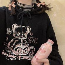 Coréia ulzzang urso bonito feminino hoodies moletom solto hip hop streetwear topos vintage punk casual harajuku novas roupas femininas